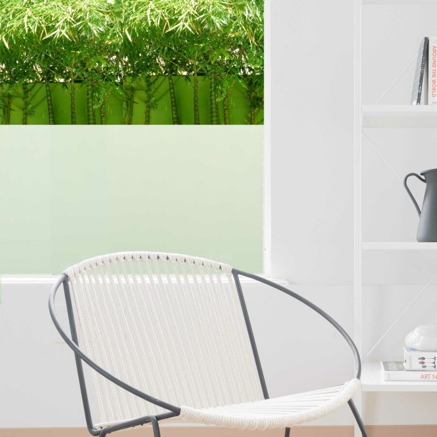 Faux glass window film for living room, bedroom or shower privacy.