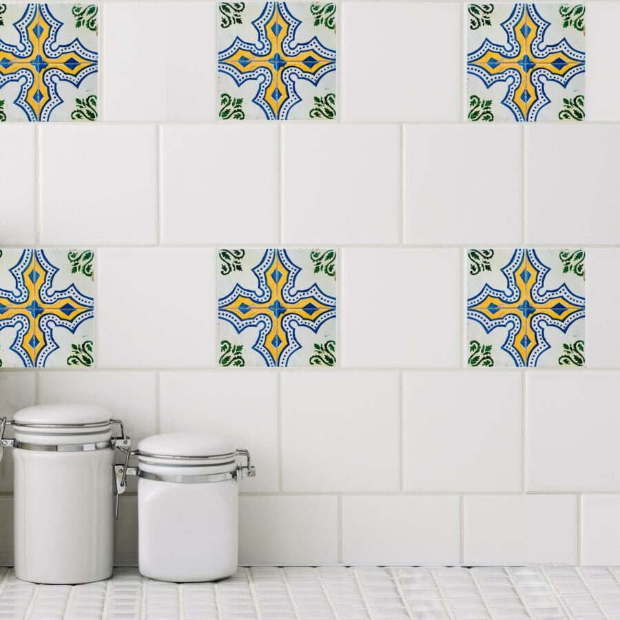 Green and blue mosaic tile stickers adorns kitchen tiles.