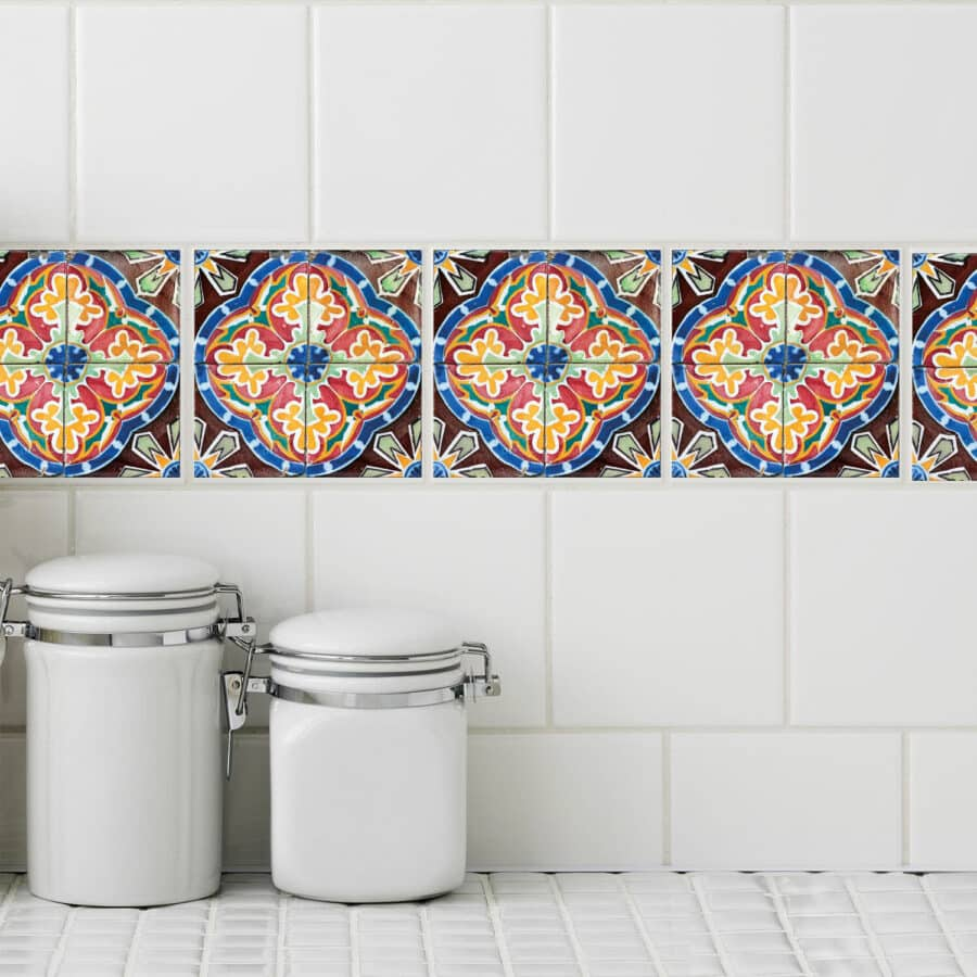 Brightly colored, Spanish style motif peel-and-stick tile decals.