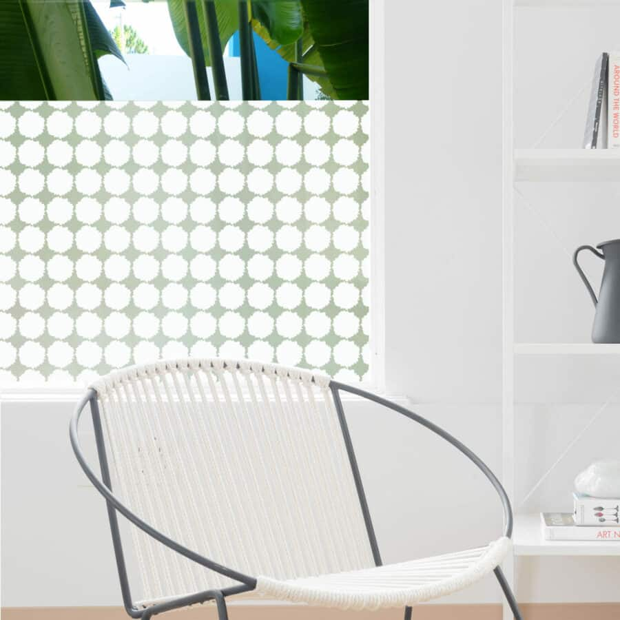 rows of fluffy edged large dots on privacy window film