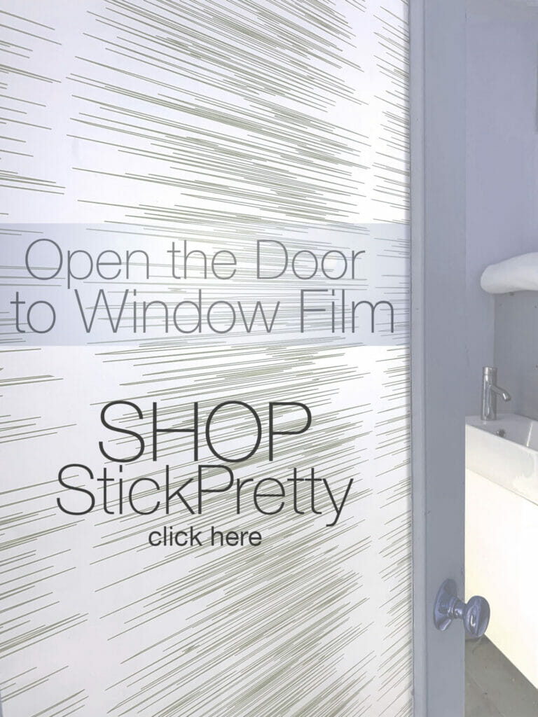 Decorative window film on a bathroom door creates privacy and features a pattern of contemporary slightly sporadic horizontal lines.